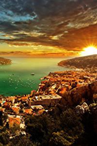 Hintergrundbilder Monaco Gebäude Küste Morgendämmerung und Sonnenuntergang Himmel Landschaftsfotografie Wolke French Riviera Städte