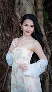 Fotos Asiatische Brünette Kleid Hand Blick Mädchens