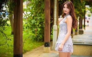 Hintergrundbilder Asiatisches Unscharfer Hintergrund Braunhaarige Kleid Hand Blick Mädchens