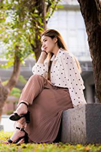 Hintergrundbilder Asiatische Braune Haare Sitzend Rock Bluse Bokeh Mädchens