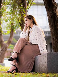 Hintergrundbilder Asiatische Braune Haare Sitzend Rock Bluse Bokeh