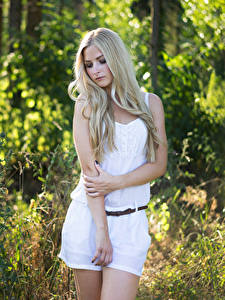 Pictures Blonde girl Pose Hands Julia young woman
