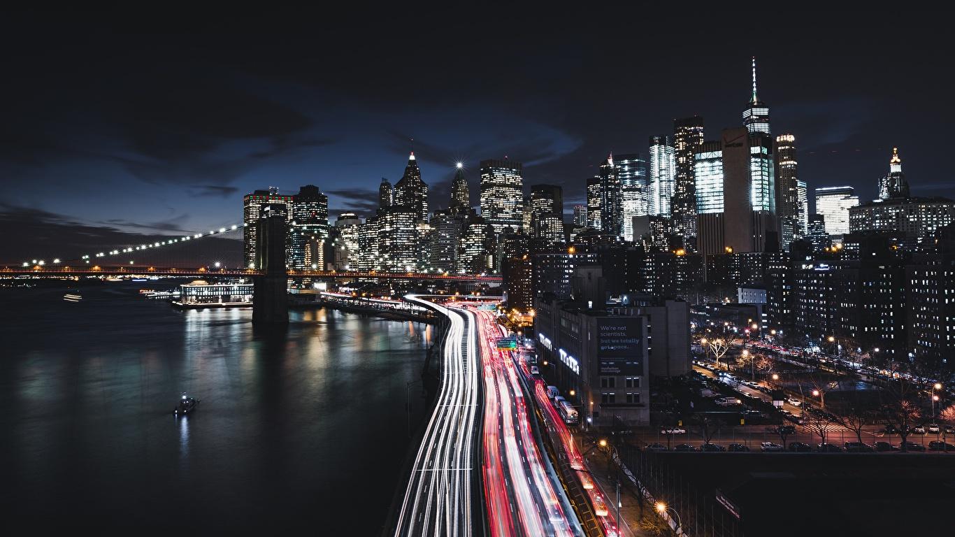 壁紙 1366x768 住宅 道 アメリカ合衆国 海岸 夜 ニューヨーク マンハッタン 都市 ダウンロード 写真