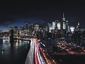 Pictures Houses Roads USA Coast Night New York City Manhattan Cities