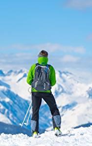 Fotos Berg Skisport Schnee Hinten Rucksack