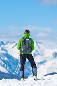 Fotos Berg Skisport Schnee Hinten Rucksack Natur