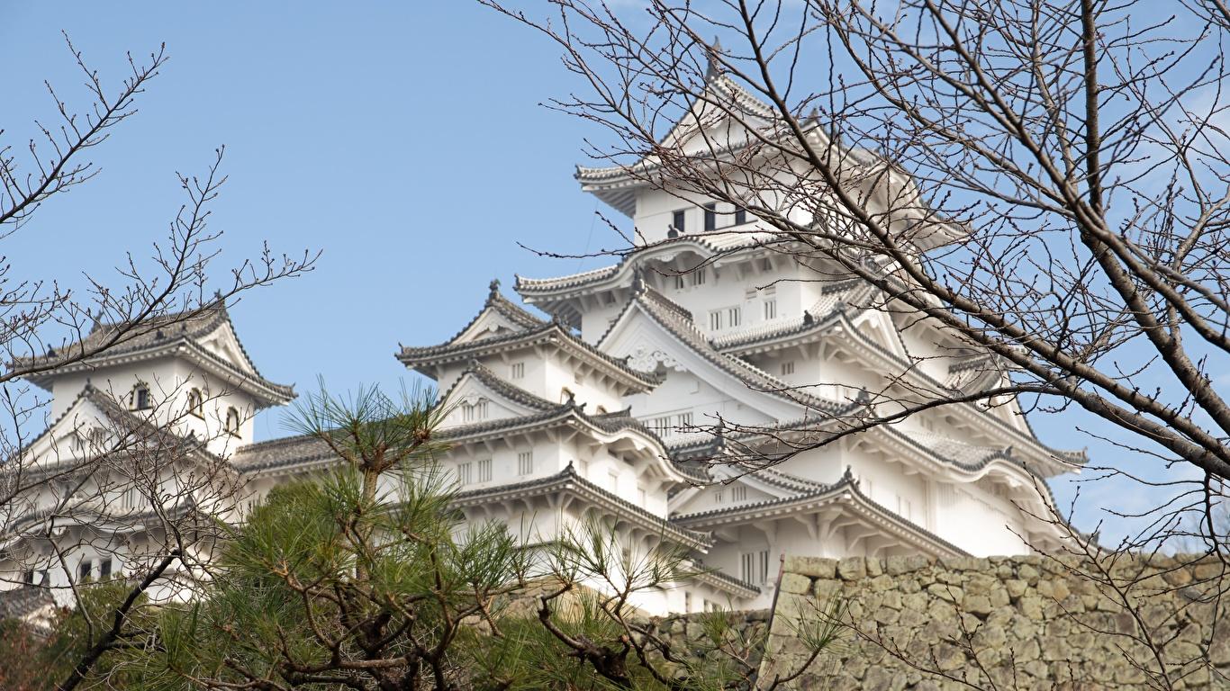 Bilder von Japan Himeji Castle, Hyogo prefecture Burg Ast Städte 1366x768