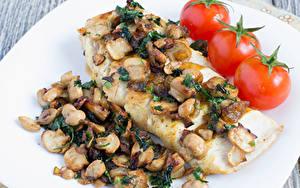 Bilder Fleischwaren Pilze Tomate