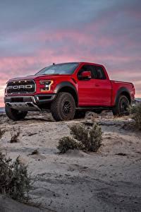 Bilder Ford Pick-up Rot F-150 Raptor Autos
