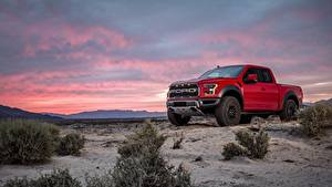Bilder Ford Pick-up Rot F-150 Raptor Autos