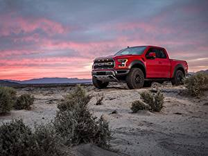 Wallpaper Ford Pickup Red F-150 Raptor automobile