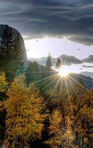 Hintergrundbilder USA Parks Gebirge Morgendämmerung und Sonnenuntergang Herbst Yosemite Bäume Lichtstrahl Natur