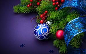 Hintergrundbilder Neujahr Beere Ast Band Kugeln