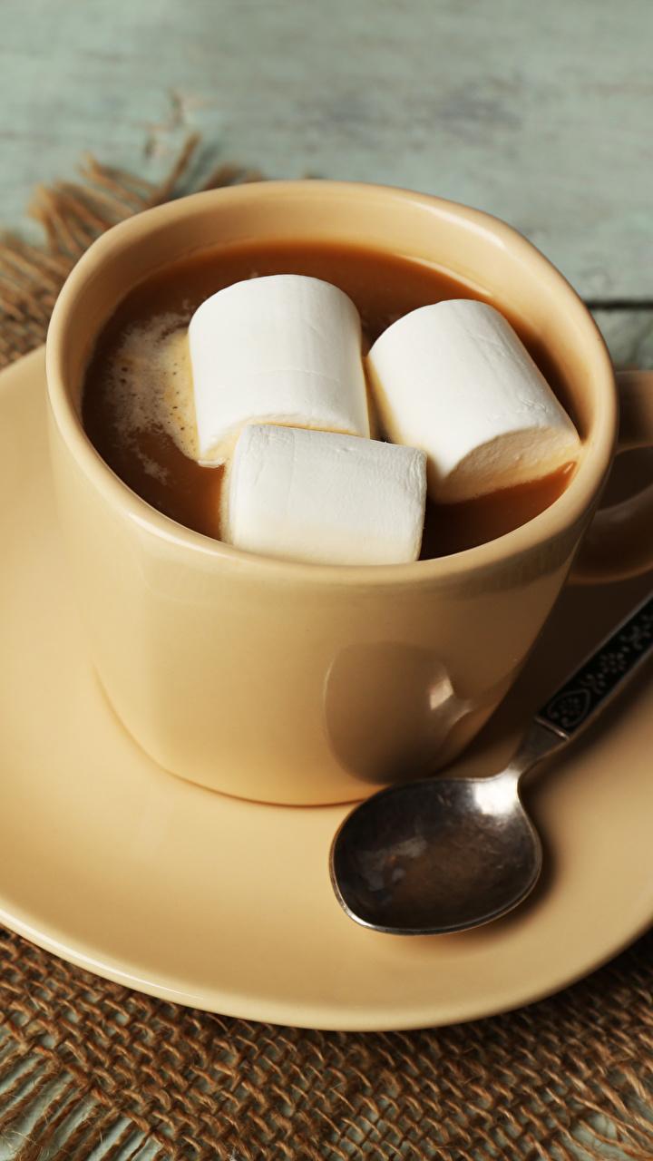 Fotos von Marshmallow Kakao Getränk Tasse Löffel Untertasse Lebensmittel 720x1280