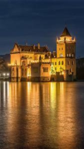 Bilder Österreich Flusse Burg Küste Nacht Anif Castle Städte