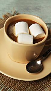 Papéis de parede Chocolate quente Marshmallow Chávena Louça pires Colher Alimentos