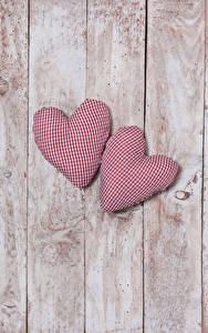 Papéis de parede Dia dos Namorados Tábuas de madeira Coração Dois
