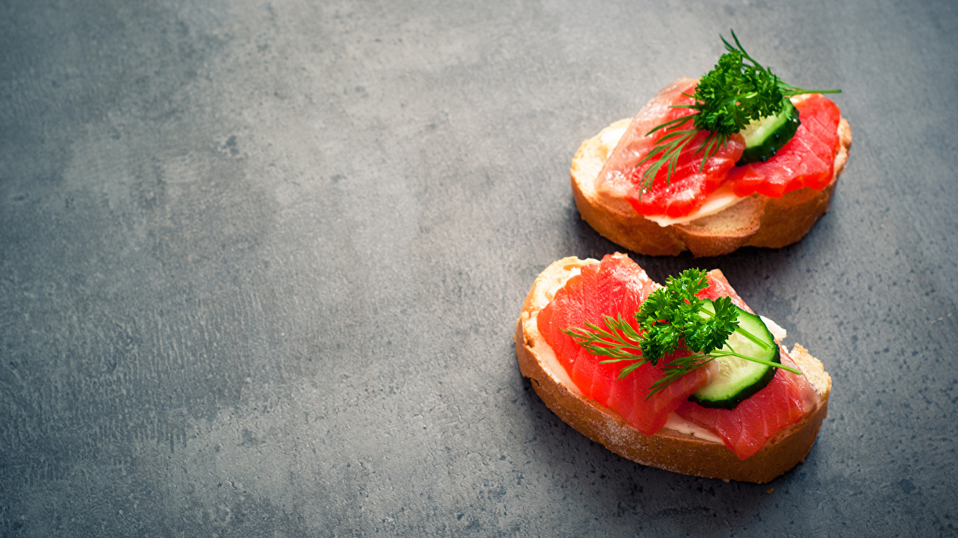 Fotos Zwei Brot Butterbrot Fische - Lebensmittel Gemüse das Essen 1366x768 2 Lebensmittel