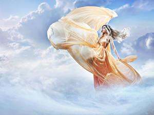 Wallpaper Sky Clouds Dress Blonde girl