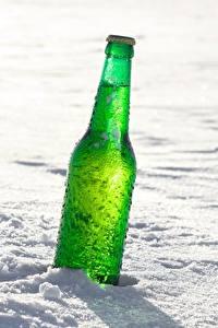 Fotos Flasche Schnee Grün das Essen