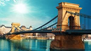 Fotos Brücken Ungarn Budapest Fluss