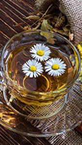 Bilder Getränke Tee Kamillen Bretter Tasse Untertasse Lebensmittel