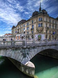 Fotos Slowenien Haus Fluss Brücke Ljubljana Zaun Städte