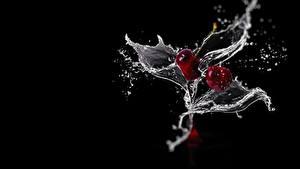Bilder Kirsche Schwarzer Hintergrund Spritzwasser