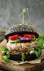 Fotos Fast food Hamburger Brötchen Fleischwaren Tomate