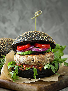 Photo Fast food Hamburger Buns Meat products Tomatoes