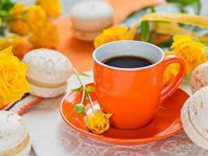 Photo Coffee Roses Cup Macaron Saucer
