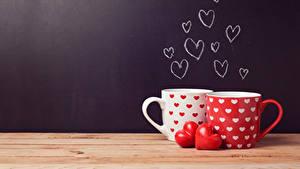 Fotos Valentinstag Tasse 2 Herz Bretter das Essen
