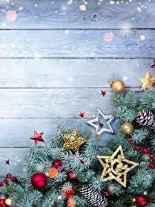 Bilder Neujahr Bretter Vorlage Grußkarte Ast Stern-Dekoration Kugeln