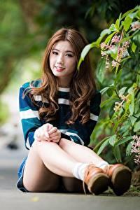 Fotos Asiatische Bokeh Braunhaarige Lächeln Sitzend Bein Mädchens
