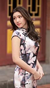 Fotos Asiatische Braunhaarige Kleid Hand Blick Bokeh junge frau
