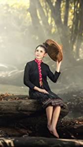 Wallpaper Stones Autumn Asian Trunk tree Sit Brunette girl Hat Fog Girls