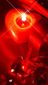 Papéis de parede Dia dos Namorados Velas Coração Fita