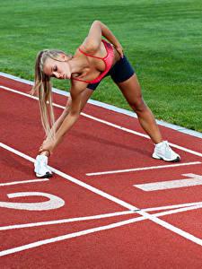 Fotos Gymnastik Trainieren Bein Hand Hübsche Mädchens Sport