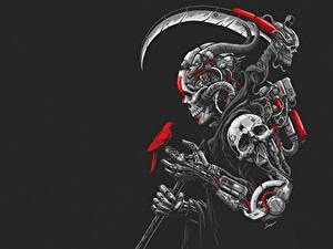 Bilder Gevatter Tod Schädel Kriegssense Schwarzer Hintergrund DEATH MACHINE by Sony Wicaksana Fantasy