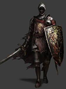 Bilder Ritter Dark Souls 3 Rüstung Schwert Schild (Schutzwaffe) Grauer Hintergrund Spiele Fantasy