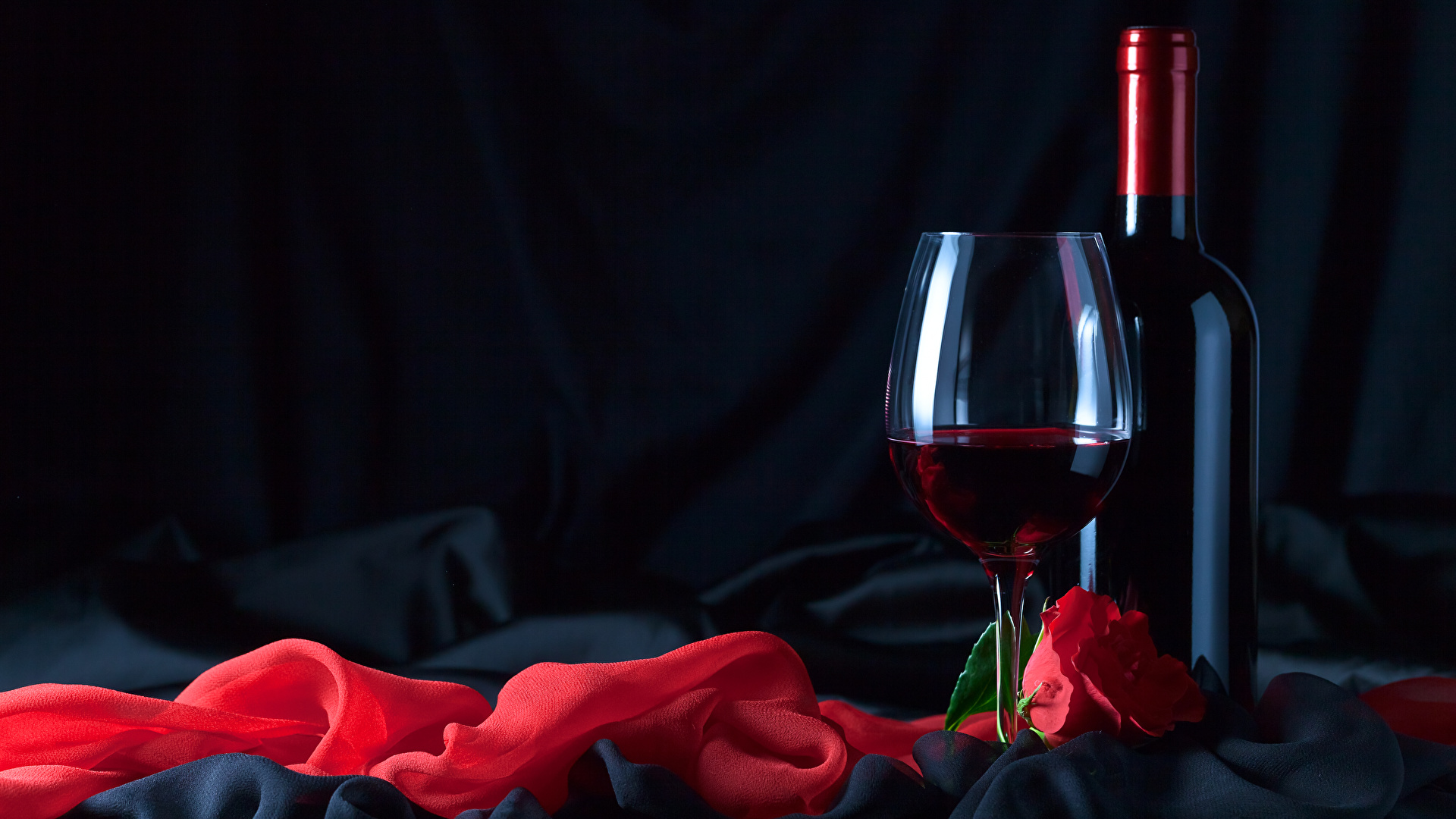 Wallpapers Red Wine Roses Food Bottle Stemware Holidays 1920x1080