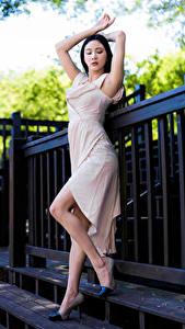 Bilder Asiatische Pose Kleid Bein Mädchens