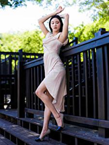 Sfondi desktop Asiatici In posa Abito Le gambe giovani donne