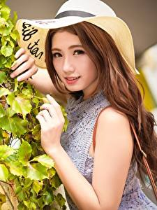 Images Asian Shrubs Hat Brown haired Glance Hands Girls