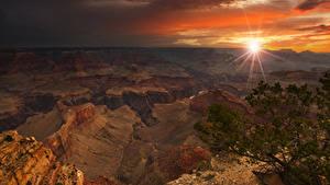Fotos Grand Canyon Park Vereinigte Staaten Park Gebirge Sonnenaufgänge und Sonnenuntergänge Lichtstrahl Natur