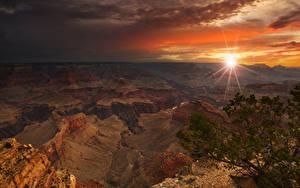 Fotos Grand Canyon Park Vereinigte Staaten Park Gebirge Sonnenaufgänge und Sonnenuntergänge Lichtstrahl