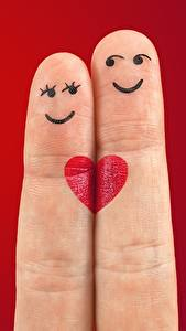 Pictures Fingers Love Red background Two Smile Heart