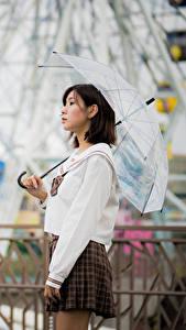 Fotos Asiaten Unscharfer Hintergrund Rock Regenschirm Braune Haare
