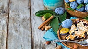 Bilder Obstkuchen Pflaume Bretter Lebensmittel