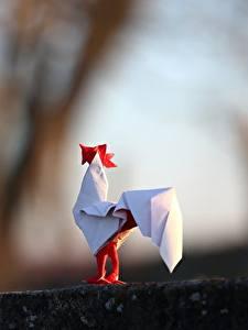 Hintergrundbilder Hahn Origami Papier